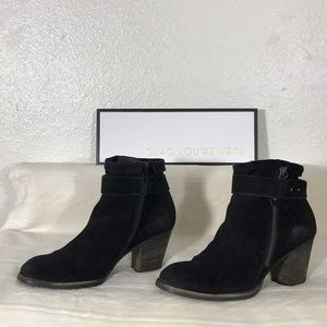 Paul Green Black Suede Ankle Boots sz 6